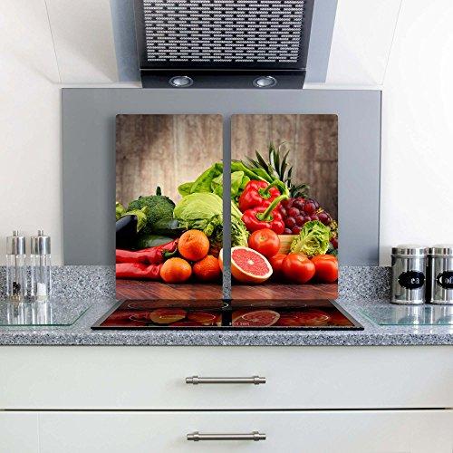 Gsmarkt | Herdabdeckplatte Schneidebrett Spritzschutz Set 2x30x52 | Bild auf Glas | Sicherheitsglas Gehärtetes Glas Bild | Motiv Früchte
