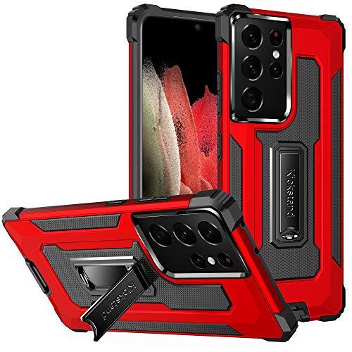 TOPOFU Funda para iPhone 12 Mini 5.4', Funda Protectora para teléfono de Grado Militar con Soporte Mejorado [Soporte magnético], Suave Tapa Trasera de TPU, Rojo