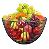 DMAR Wire Fruit Basket Black Fruit Bowl for Kitchen Counter Round Fruit Basket Serving Bowl Wire Fruit Dish for Fruits and Veggies