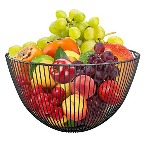 karadrova Frutero Cesta de Fruta de Metalico Grande Cuencos de Fruta Alambre Negro 25 x 14 cm Fruteros de Cocina Modernos Cesta Redondo de Hierro para Pan Fruteros de Mesa de Comedor
