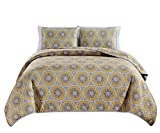 Masterplay 3-Piece Fine Printed (106' X 90') Quilt Set, Bedspread Coverlet (Caifornia) Cal King Size Bed Cover (Grey, White, Yellow, Medallion)