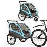 Kinderfahrradanhänger und Kinderwagen 2 in 1 Anhänger Jogger für Kinderfahrradanhänger mit Buggy-Set + Federung BT504S (Blau)