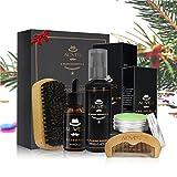 Bartpflege-Set für Herren - Bartpflege mit Bartwaschmittel/Shampoo + Schnurrbartbalsam + Bartöl + Bartbürste + Bartkamm Bartschönheitsschere -