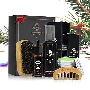 Aceites Cuidado de Barba Kit - LeSB Aceite para Barba, Bálsamo Barba, Barba Champú, Peine para Barba, Cepillo de barba, Juego de regalo perfecto para hombres