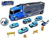 VENTURA TRADING Policía Transportador de Autos y 6 Autos Servicios de Emergencia Transportista Camión de Juguete Transportador de Autos con Mini Metal Cars Vehículos Play Set para niños