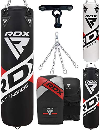 RDX Punch Bag Unfilled Set Muay Thai Training Gloves Punching Mitts Hanging Chain Ceiling Hook, Great for MMA,Kick Boxing, Martial Arts, 4PC Available in 4FT 5FT