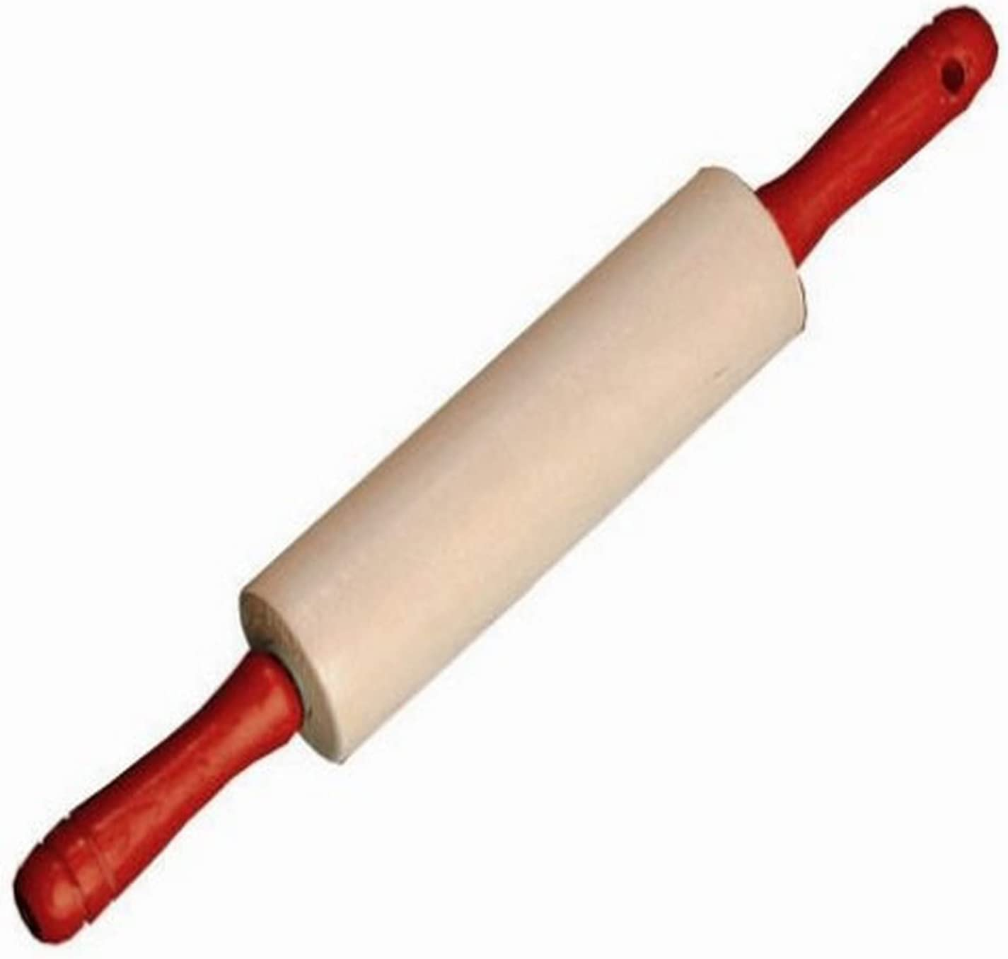 Vintage Wooden Rolling Pin Faded Red Handles