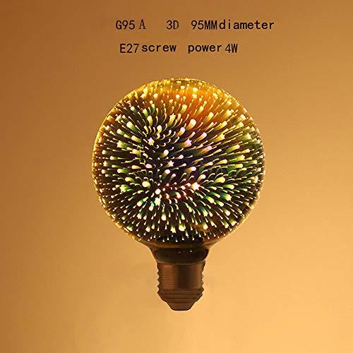 SSLW 3D coloré Edison LED Ampoules décoratives Ampoules E27 vis KTV hôtel Creative Source de lumière de Noël,G95A,4W
