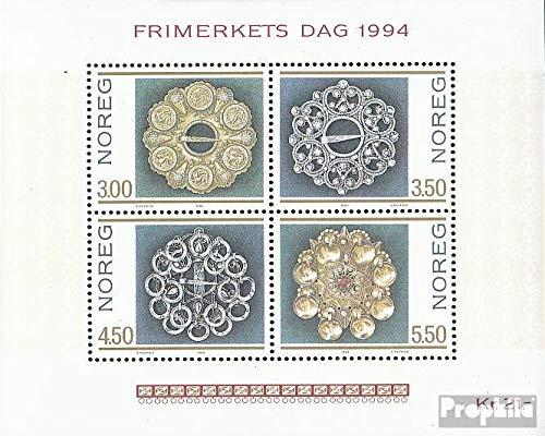 Prophila Collection Norwegen Block21 (kompl.Ausg.) 1994 Trachtensilber (Briefmarken für Sammler) Uniformen / Trachten