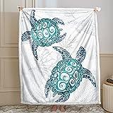 Bedbay Turtle Blanket Blue Ocean Throw Blanket Sea Animal Tortoise Pattern Boys Girls Marine Blanket Soft Cozy Bed Couch Sofa Blankets (Turtle, Throw(50'x60'))