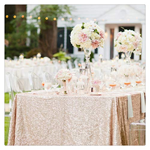SoarDream Sequin Tablecloth 50''x50'' Champagne Blush Square Table Cover Wholesale