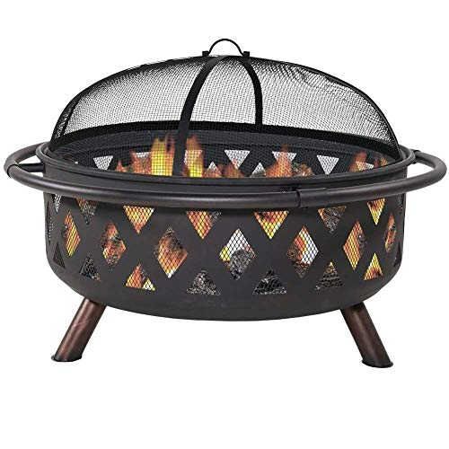 AWJ Fire Pits Outdoor with Spark Screen, Large Bonfire Wood Burning Patio, for Picnic Patio Backyard Garden Beaches Park