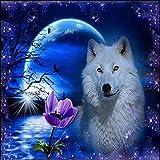 DIY 5D Diamond Painting Kits White Wolf Moonlit Raven Taladro Completo Decoración de Arte de la Pared Del Hogar Adornos Artes Lienzo Crystal Rhinestone Pinturas Diamantes F8763 Round Drill,60X70cm
