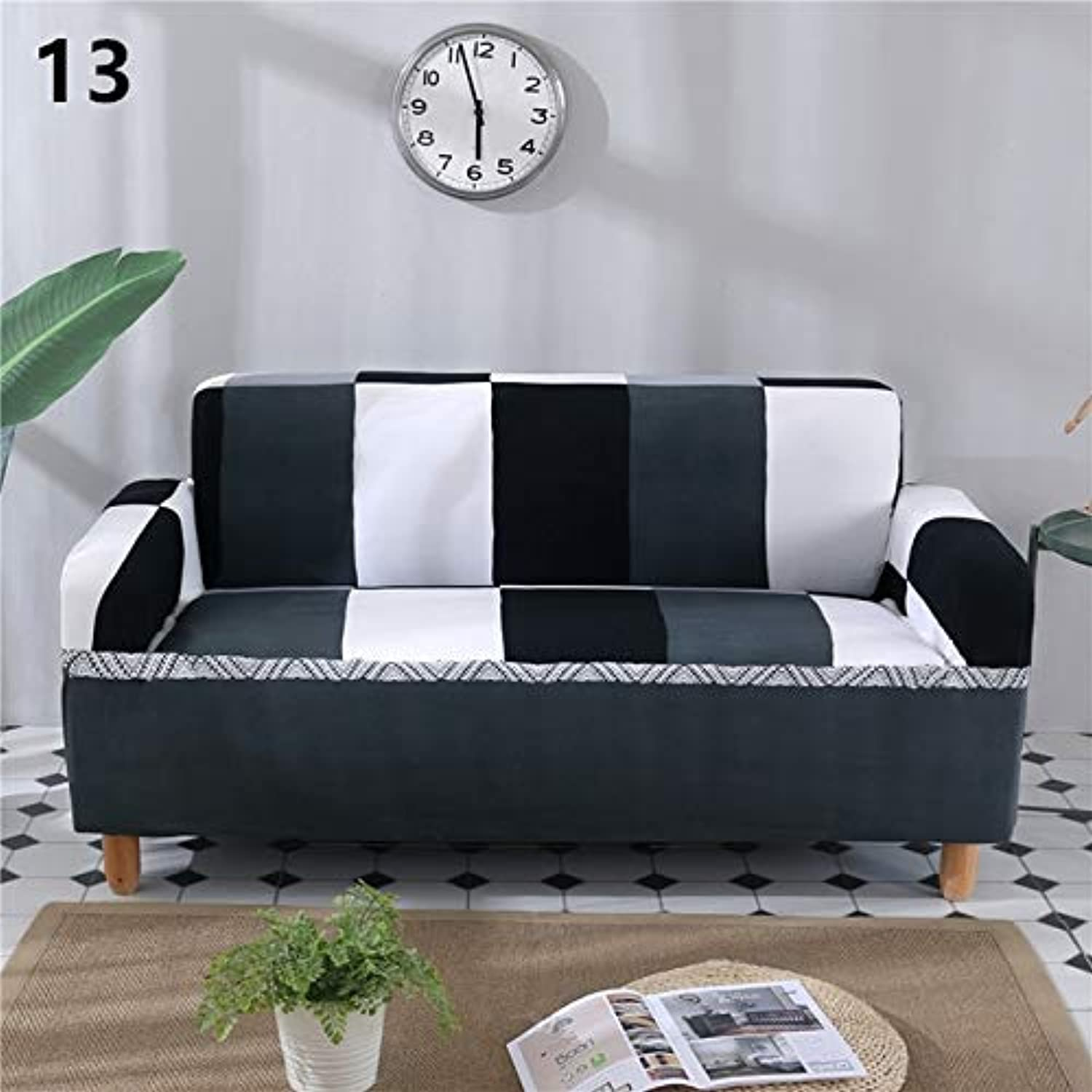Elastic Sofa Cover Printed Flowers Slipcover Tight Wrap All-Inclusive Corner Sofa Cover Stretch Furniture Covers 1 2 3 4 Seater   13, 145x185cm