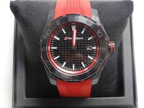 Audi Sport GmbH 3101600801 Original Sport Uhr Dreizeigeruhr Armbanduhr Chronograph, Rot/ Schwarz