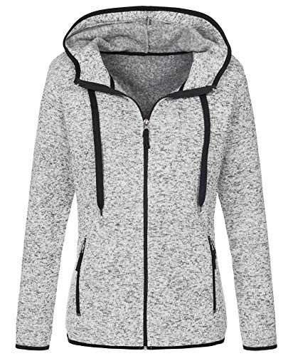 Stedman Strickfleece-Jacke mit Kapuze für Damen, für Sport, Freizeit & Wandern, Premium Qualität Active Outdoor, Light Grey Melange, M