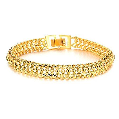 Aooaz - Bracciale placcato oro 18 carati, catena bracciale in oro da uomo e placcato Oro, colore: stile 11, cod. ESAZSCJOB556