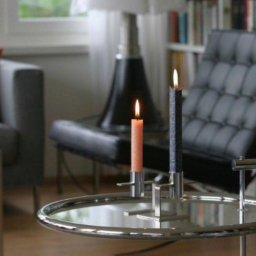 Amabiente – Design Candles 2812 MYC2 2 Chandelier Plus 4 Bougies en boîte, Acier Inoxydable, Argent, 32 x 10,8 x 7 cm