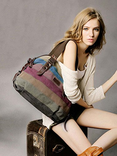 COOFIT Womens Handbag, Striped Canvas Tote Bag