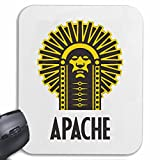 Mousepad alfombrilla de ratón INDIAN jefe apache indio CARA tribu india indio joyería de vuelo rasante INDIA para su portátil, ordenador portátil o PC de Internet (con Windows Linux, etc.) en White