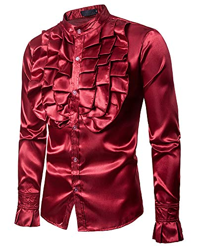 Mens Novelty Tuxedo Shirts - Gothic Long Sleeve Tops Club Style Shirts Red US L