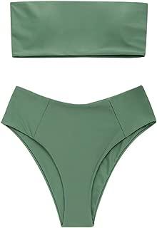 Women's High Cut Bandeau Bikini Set Strapless Solid Color 2 Pieces Bathing Suit Swimsuit