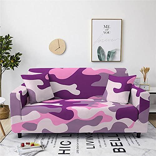 Fundas para Sofa Camuflaje Rosa Violeta Cubre Sofa Elasticas Funda Sofa Chaise Long Antideslizante Poliéster y Elastano Fundas para Sofa Chaise Longue Funda De Sofa Protector 4 Plazas