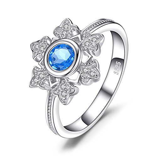 JewelryPalace Schneeflocke 0.6ct Echte Schweizer Blautopas Cocktail Ring 925 Sterling Silber
