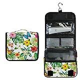 Alarge - Neceser para colgar, diseño de flores tropicales, flores, hojas de palma, mariposa, bolsa para hacer gárgaras de viaje, bolsa de cosméticos, organizador de maquillaje para mujeres y hombres