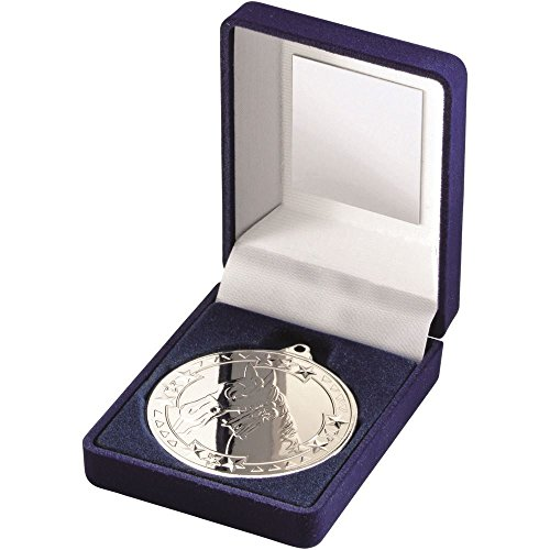 Caja de Terciopelo Azul con Dimensiones de Solapa y Trofeo de Caballo Mediano DE 50 mm, Color Plateado, 8,9 cm