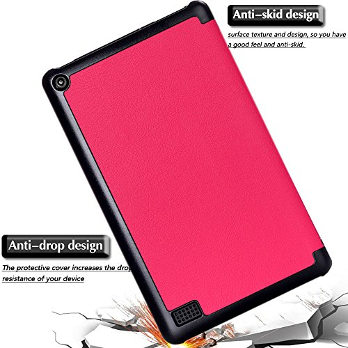 Gzerma Fire 7 Case 2017 Release with Screen Protector for All-New Fire 7 Tablet, Folio Standing PU Leather Cover with Auto Wake/Sleep, Shatter-Proof Protective Film for Amazon Fire7 7th Gen, Pink