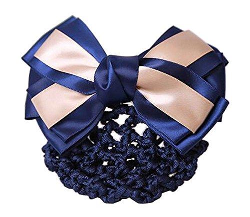 Elegant Ladies Snood Net Barrette Hairnets Housse de cheveux, Bow Beige #01