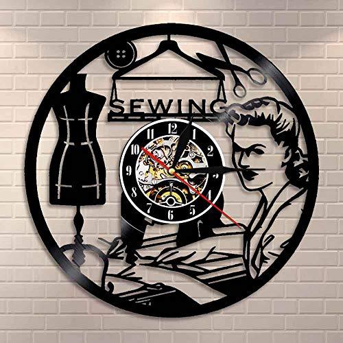 Tbqevc Reloj de Vinilo Cosido Regalo de Mujer Hecho a Mano máquina Retro Reloj de Pared Tienda de Moda decoración de Arte de Pared 12 Pulgadas