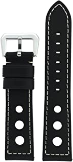 Rally Racing Watch Band Leather Strap Black Brown Blue Green 20mm, 22mm, 24mm