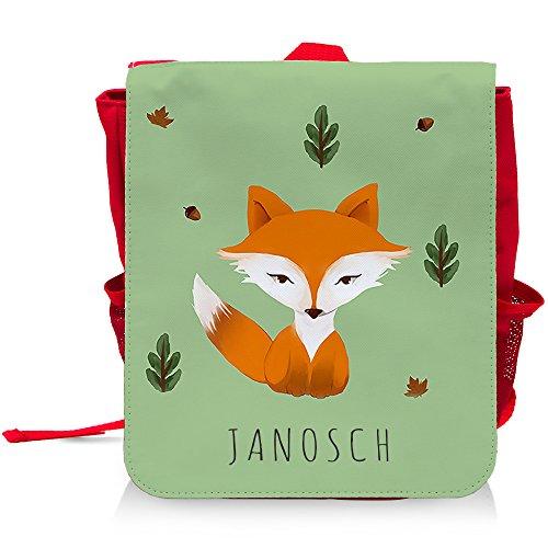 Kinder-Rucksack mit Namen Janosch und schönem Motiv mit Aquarell-Fuchs für Jungen