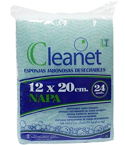 Cleanet: esponja jabonosa desechable napa 12x20cm 90grs. 20 paquetes x 24 unidades (480 unidades)