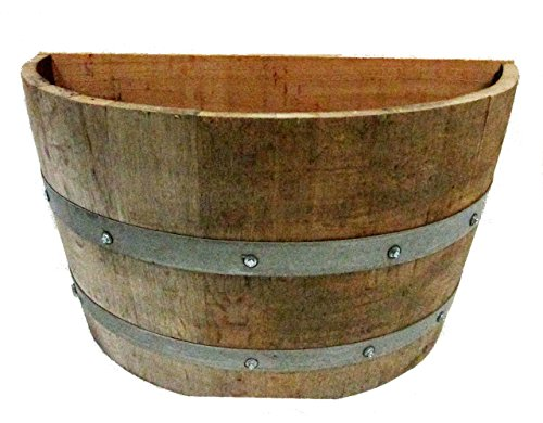 MGP Oak Wood Qarter Wine Barrel Planter Handcrafted from Used Wine Barrels, 26' W x 14' D x 18' H