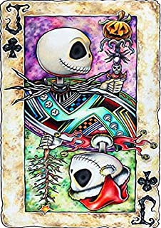 DIY 5D Full Drill Poker Jack Skull Skeleton Square Diamond Painting by Number Kits for Adults and Children Crystal Rhinest...