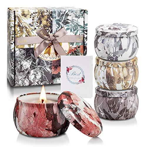 Yinuo Candle Duftkerze Set mit 4 Kerzen Geschenksets für Damen, Sojawachs Kerzen für Raumdüfte mit Lavendel, Freesien, Rosmarin und Vanille Geburtstags Neujahrsgeschenkpaket für Mutter oder Freundin