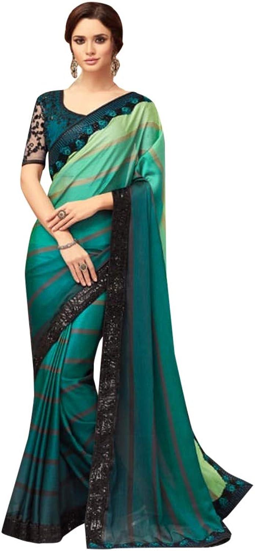 Bollywood Designer Satin Sari with Net Blouse for Women Evening Cocktail dress Indian Saree 7584