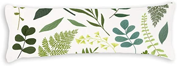 Decorative Body Pillow Cover Fresh Nordic with Green Leaves Long Body Pillow Case 20x60 Inch