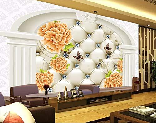 LONGYUCHEN Personalized Custom Murals Flower Butterflies Suitable For 3D Background Wall Home Decoration180Cm(H)×280Cm(W)