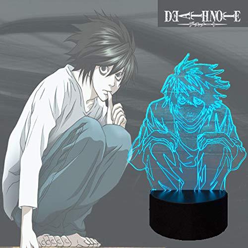 Death Note Luz de acción para habitación de niño lava japonesa temática de cómic L Lawliet lámpara de mesa manga de dibujos animados, luz nocturna LED USB 7 colores brillo de estado de ánimo