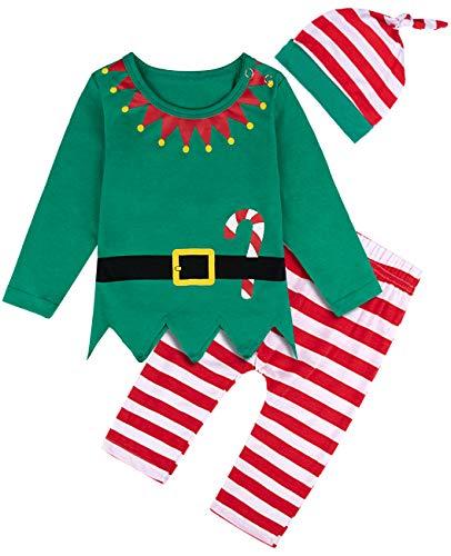 MOMBEBE COSLAND Costume Elfo Bimbo Natale Bambino Abiti Set (0-6 Mesi, Verde)