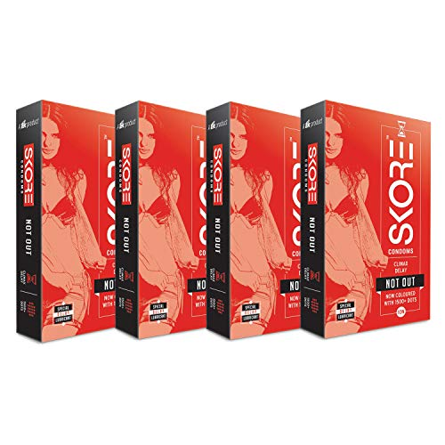 Skore Notout Climax Delay Condoms - 40 Dotted Condoms - 4 Packs (10 pieces per pack)