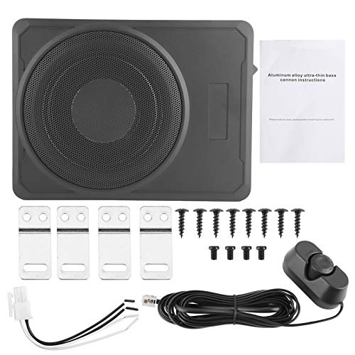Aramox Car Subwoofer, Auto Subwoofer Slim Amplifier Bassgehäuse Lautsprecher Under-Seat Audio Device 10in 12V 800W Schwarz