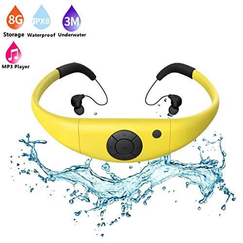 TYYW MP3-Player, Schwimmen wasserdichte MP3-Player-Kopfhörer Sports IPX8 Bluetooth mit FM-Radio Bluetooth Pedometer für Schwimmen Mp3,Gelb