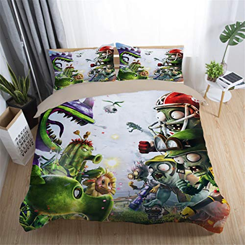 AMTAN 3D Plantsvs Zombies Bedding Set for Kids Game Topic Duvet Cover Set 100% Microfiber Best Gifts Girls Boys Bed Set 3 Pieces 1 Duvet Cover+2 Pillow Shams Twin Size