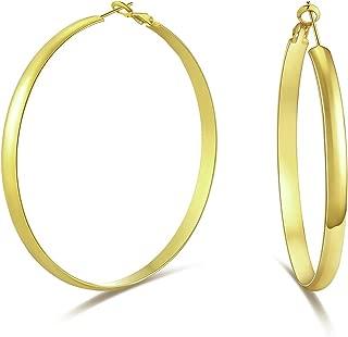5mm Thick Flat Edge Gold Hoop Earrings for Women Girls 30mm-70mm …