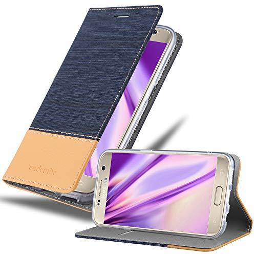 Cadorabo Funda Libro para Samsung Galaxy S7 en Azul Oscuro MARRÓN - Cubierta Proteccíon con Cierre Magnético, Tarjetero y Función de Suporte - Etui Case Cover Carcasa